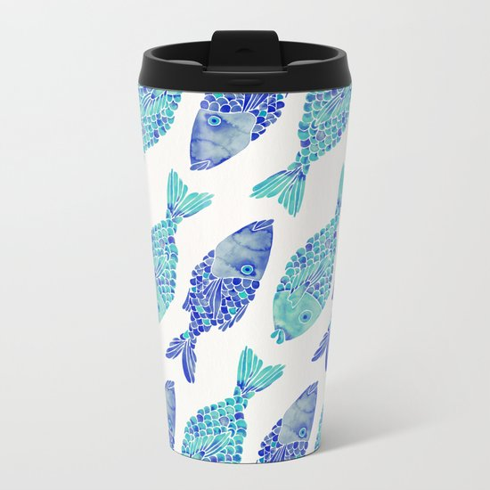 Indonesian Fish Duo – Navy & Turquoise Palette Metal Travel Mug