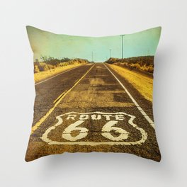 Route 66 Road Marker Throw Pillow