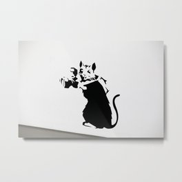 Banksy Rat Photographer Streetart Black&White Metal Print