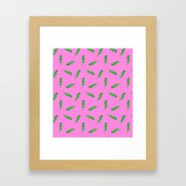 Green Glitter Lightning Bolts in Pink Framed Art Print