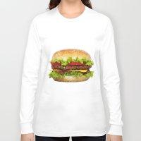 hamburger Long Sleeve T-shirts featuring Triangular HAMBURGER by JOlorful