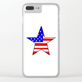 Star and flag of Usa - america,us,united states,american,spangled,star and strips Clear iPhone Case