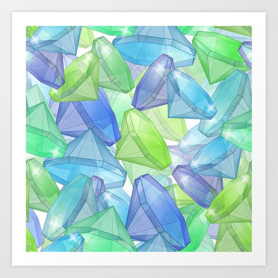 Placer precious stones, yellow , green , blue . Art Print