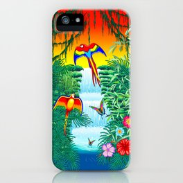 Waterfall Macaws and Butterflies on Exotic Landscape in the Jungle Naif Style iPhone Case
