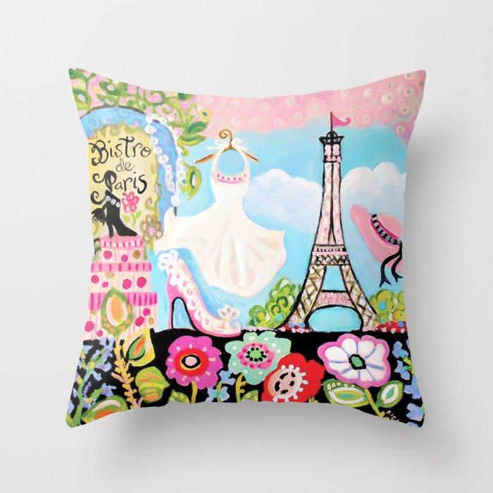 Paris Bistro Dress Throw Pillow