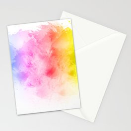 Rainbow abstract artistic watercolor splash background Stationery Cards