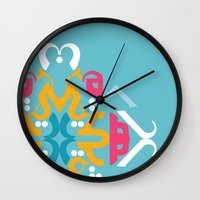 arabic Wall Clocks featuring Blue Arabic by Farah Saheb