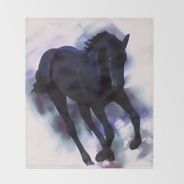 A Friesian foal's morning joy Throw Blanket