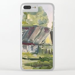 Oil Painting On Canvas Village Landscape Artwork Modern Room Wall Art Home Living Cozy Home Decor Clear iPhone Case