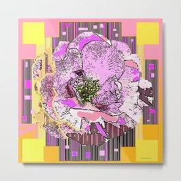 CosmicGolden Yellow-Pink-Grey Graphic Rose Design Metal Print