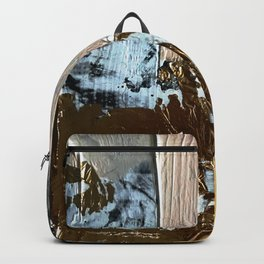 Compelling: a minimal, abstract mixed-media piece in gold, pink, black and white by Alyssa Hamilton Backpack