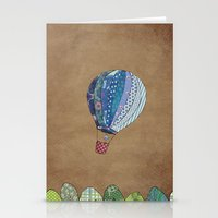 hot air balloon Stationery Cards featuring Blue hot air balloon by Sof Andrade