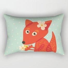 Cute Fox And Flowers Rectangular Pillow