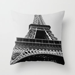 Eiffel Tower // Looking up at the World's Most Famous Monument in Paris France Classic Photograph Throw Pillow