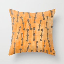 Golden Connected Points on Orange Pattern Throw Pillow
