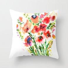 Bouquet Red Throw Pillow