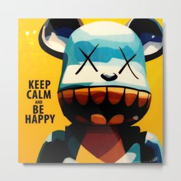 KAWS - Keep Calm and Be Happy Metal Print