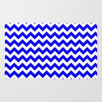 chevron Area & Throw Rugs featuring Chevron (Blue/White) by 10813 Apparel