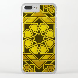 Rich Gold Art Deco-Inspired Geometric Pattern Clear iPhone Case