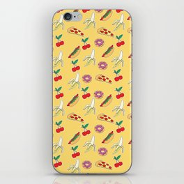 Modern yellow red fruit pizza sweet donuts food pattern iPhone Skin