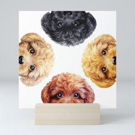 Toy poodle friends mix, Dog illustration original painting print Mini Art Print