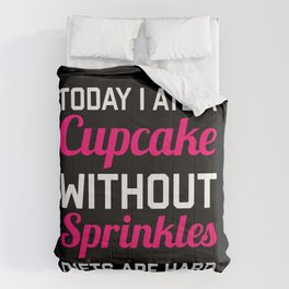 Diets Are Hard Cupcakes (Black) Funny Quote Comforters