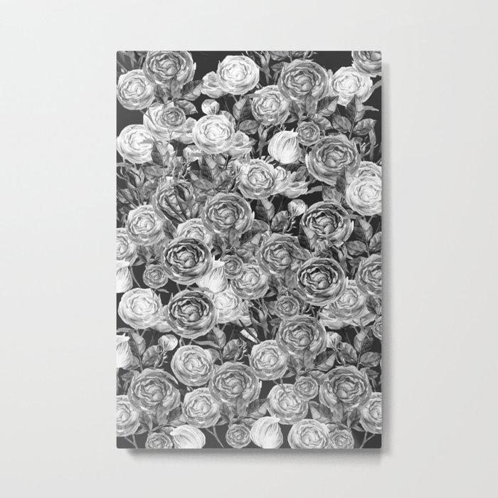 Vintage Roses Black And White Metal Print