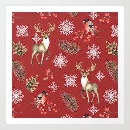 Deer and bullfinches Art Print