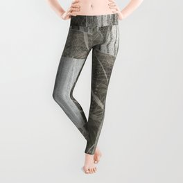 Nature Print Neutral Leaves and Squares Leggings