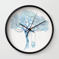 david Wall Clocks featuring The Start of Something by David Fleck