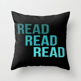Read Read Read (black) Throw Pillow