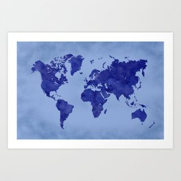 Vintage and distressed blue world map Art Print