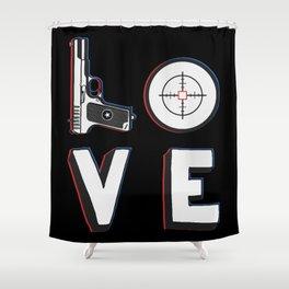 Love Shooting Target Shower Curtain