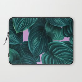 tropical green pattern on pink Laptop Sleeve