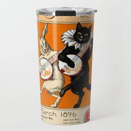 Black Cat for Halloween with Vampire Bunny Travel Mug