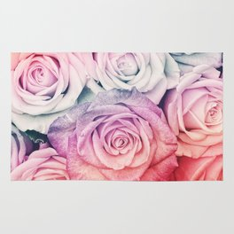 Some people grumble II  Floral rose flowers pink and multicolor Rug