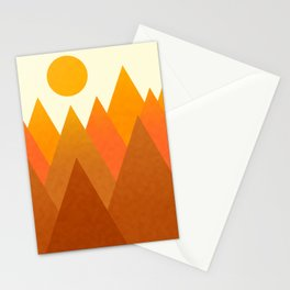 Modern Warming Abstract Geometric Mountains Landscape with Rising Sun in Hot Autumnal Ochre Colors Stationery Cards