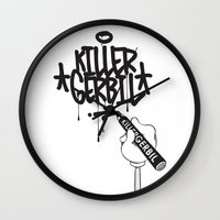 writer Wall Clocks featuring Writer by The Killer Gerbil