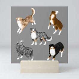 Australian Shepherd Pattern (Gray Background) Mini Art Print