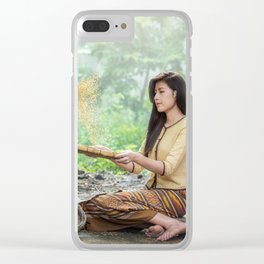 Asian Woman Sowing Rice Clear iPhone Case