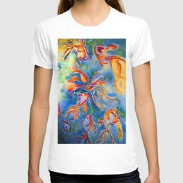 Rainbow Bubbly GoldFish watercolor by CheyAnne Sexton T-shirt