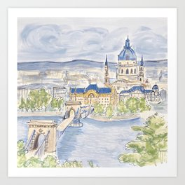 Budapest Hungary   European City   Illustration Painting Art Print