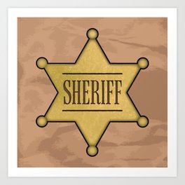 Wild West Sheriff's Badge Art Print