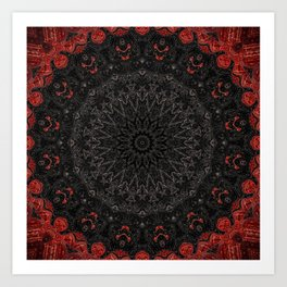 Red and Black Bohemian Mandala Design Art Print
