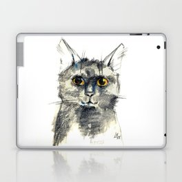 Pencil sketch of the black cat Laptop & iPad Skin