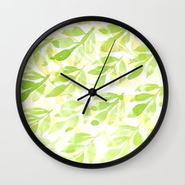 Watercolor green and yellow leaves pattern Wall Clock