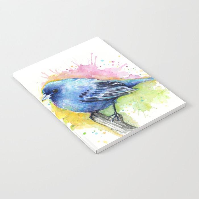 Blue Bird Indigo Bunting Colorful Animals Notebook