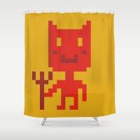 devil Shower Curtains featuring pixel devil by MariMari