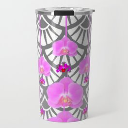 CERISE PINK ORCHID FLOWERS GREY DECO PATTERN ABSTRACT ART Travel Mug
