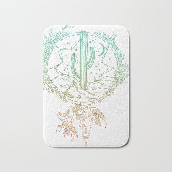 Desert Cactus Dreamcatcher Turquoise Coral Gradient on White Bath Mat